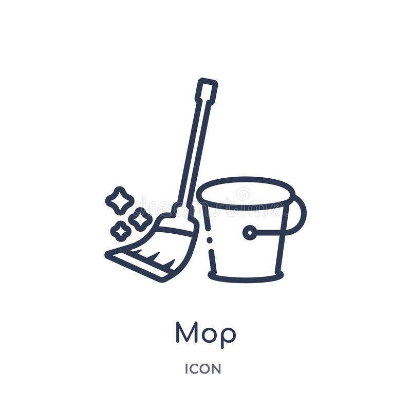 Linear mop icon from Cleaning outline collection. Thin line mop vector isolated on white background. mop trendy illustration royalty free illustration