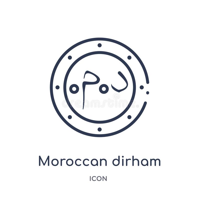 Linear moroccan dirham icon from Africa outline collection. Thin line moroccan dirham vector isolated on white background. royalty free illustration