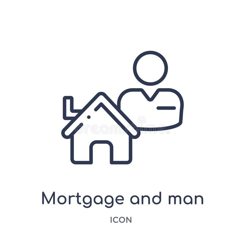 Linear mortgage and man icon from Business outline collection. Thin line mortgage and man icon isolated on white background. vector illustration