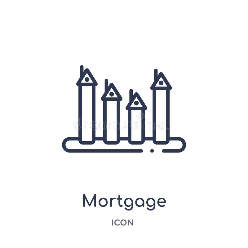 Linear mortgage statistics icon from Business and analytics outline collection. Thin line mortgage statistics vector isolated on vector illustration