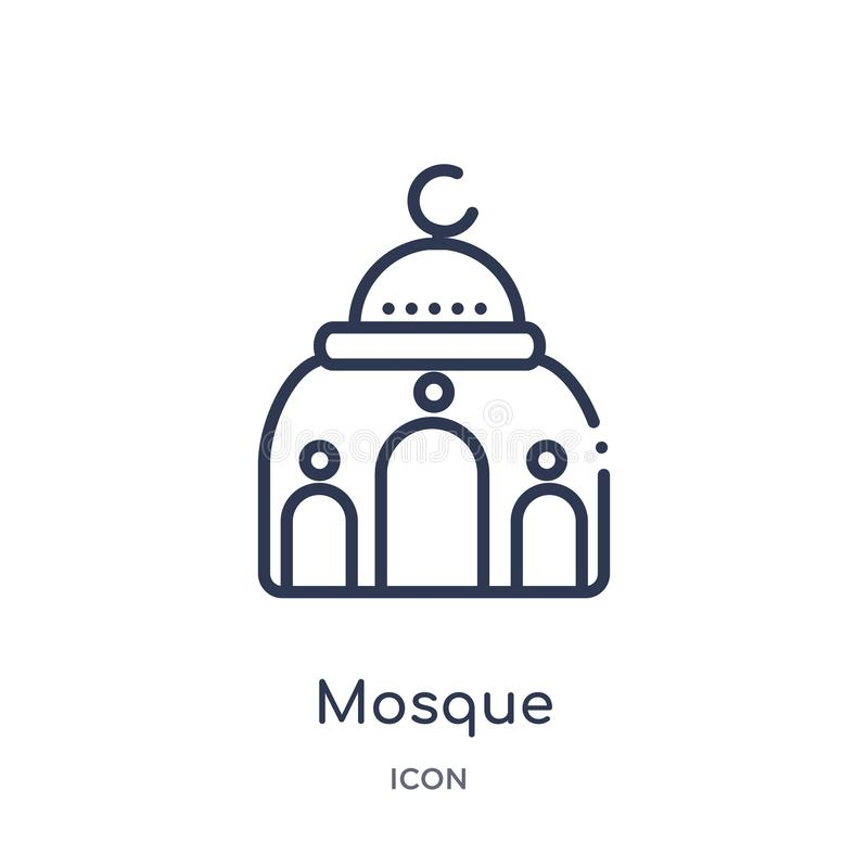 Linear mosque icon from Desert outline collection. Thin line mosque vector isolated on white background. mosque trendy vector illustration