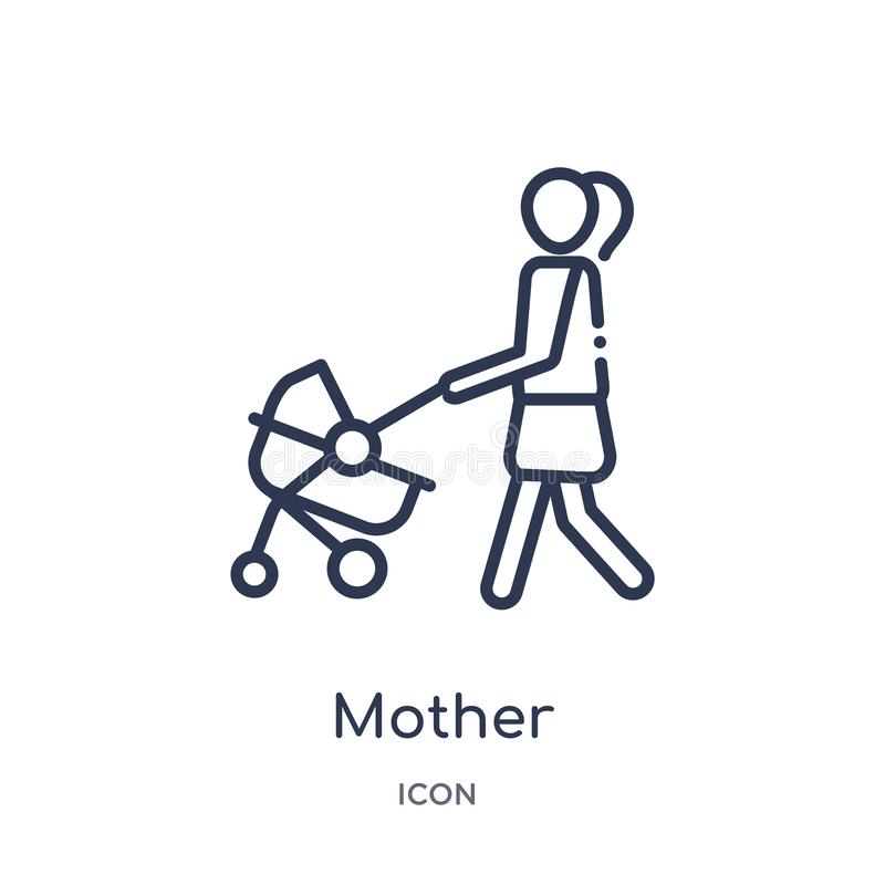Linear mother icon from Family relations outline collection. Thin line mother vector isolated on white background. mother trendy stock illustration