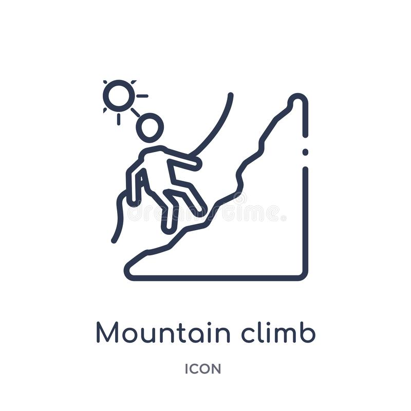 Linear mountain climb icon from Humans outline collection. Thin line mountain climb icon isolated on white background. mountain royalty free illustration