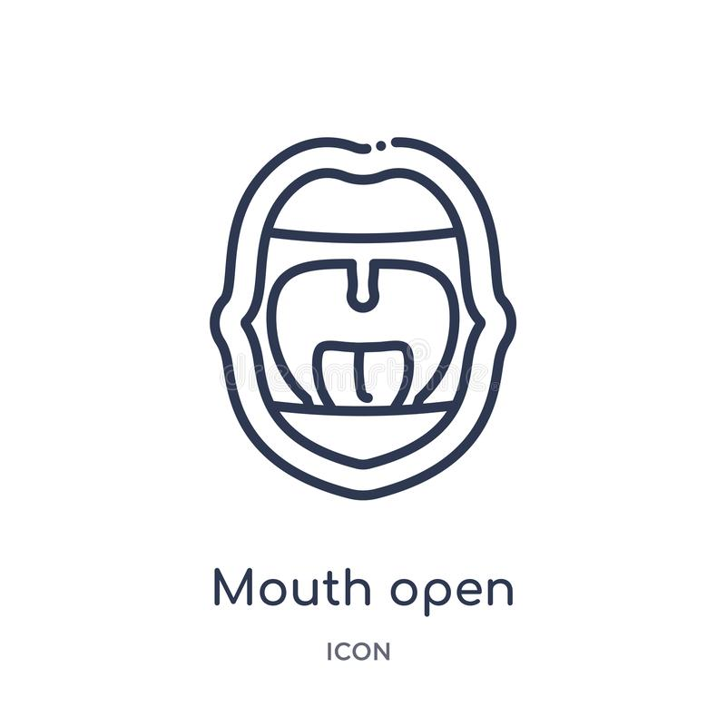 Linear mouth open icon from Human body parts outline collection. Thin line mouth open icon isolated on white background. mouth vector illustration