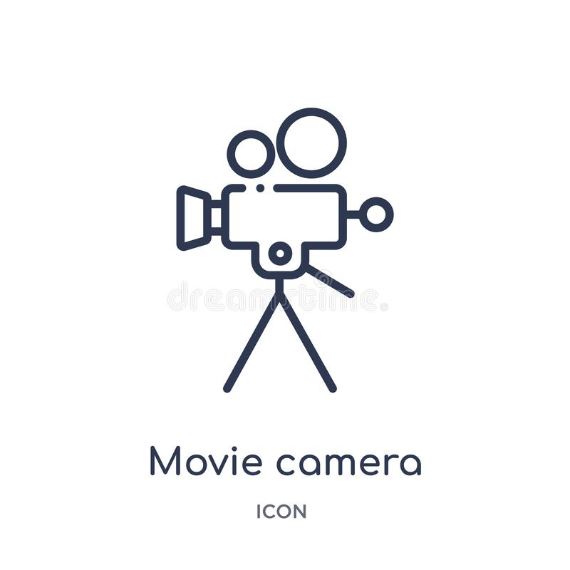 Linear movie camera icon from Cinema outline collection. Thin line movie camera vector isolated on white background. movie camera. Trendy illustration vector illustration