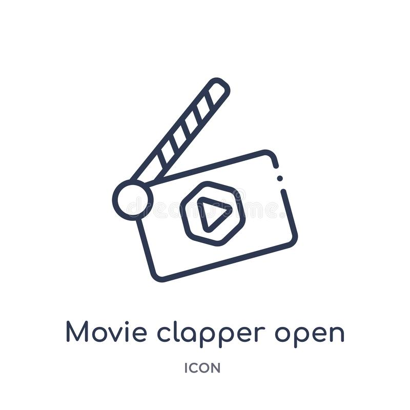 Linear movie clapper open icon from Cinema outline collection. Thin line movie clapper open vector isolated on white background. vector illustration