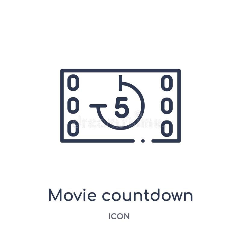 Linear movie countdown icon from Cinema outline collection. Thin line movie countdown vector isolated on white background. movie stock illustration