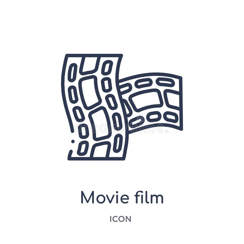 Linear movie film icon from Cinema outline collection. Thin line movie film vector isolated on white background. movie film trendy vector illustration