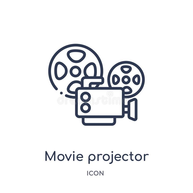 Linear movie projector front view icon from Cinema outline collection. Thin line movie projector front view vector isolated on stock illustration