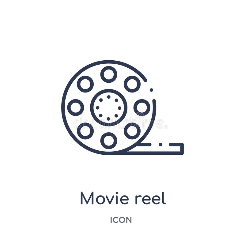 Linear movie reel icon from Cinema outline collection. Thin line movie reel vector isolated on white background. movie reel trendy. Illustration stock illustration
