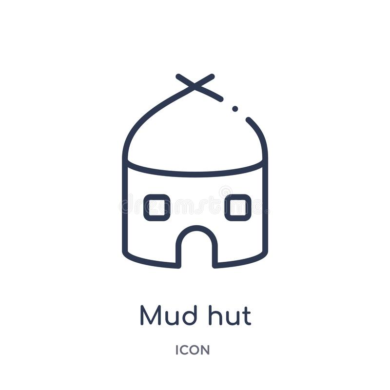 Linear mud hut icon from Culture outline collection. Thin line mud hut vector isolated on white background. mud hut trendy royalty free illustration