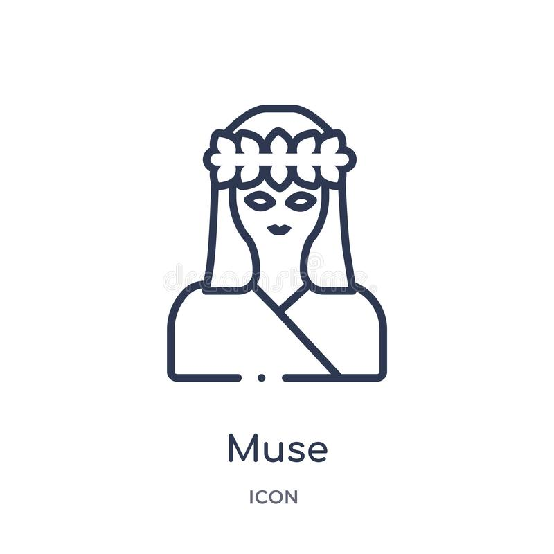 Linear muse icon from Greece outline collection. Thin line muse icon isolated on white background. muse trendy illustration royalty free illustration