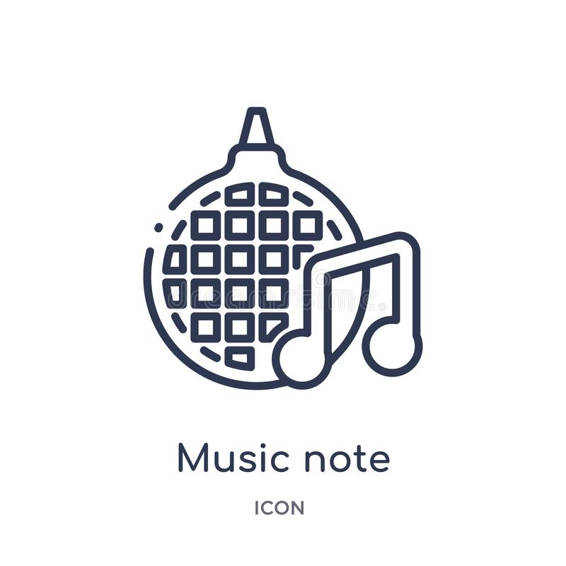 Linear music note icon from Discotheque outline collection. Thin line music note vector isolated on white background. music note vector illustration