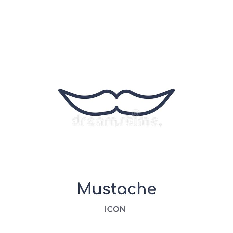 Linear mustache icon from Birthday party outline collection. Thin line mustache vector isolated on white background. mustache stock illustration