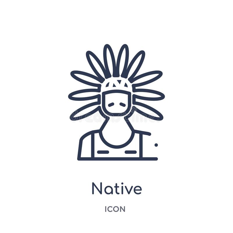 Linear native icon from Cultures outline collection. Thin line native icon isolated on white background. native trendy stock illustration
