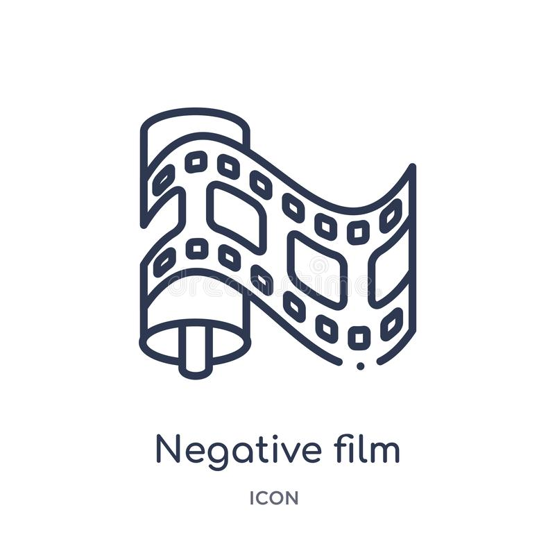 Linear negative film icon from Cinema outline collection. Thin line negative film vector isolated on white background. negative stock illustration