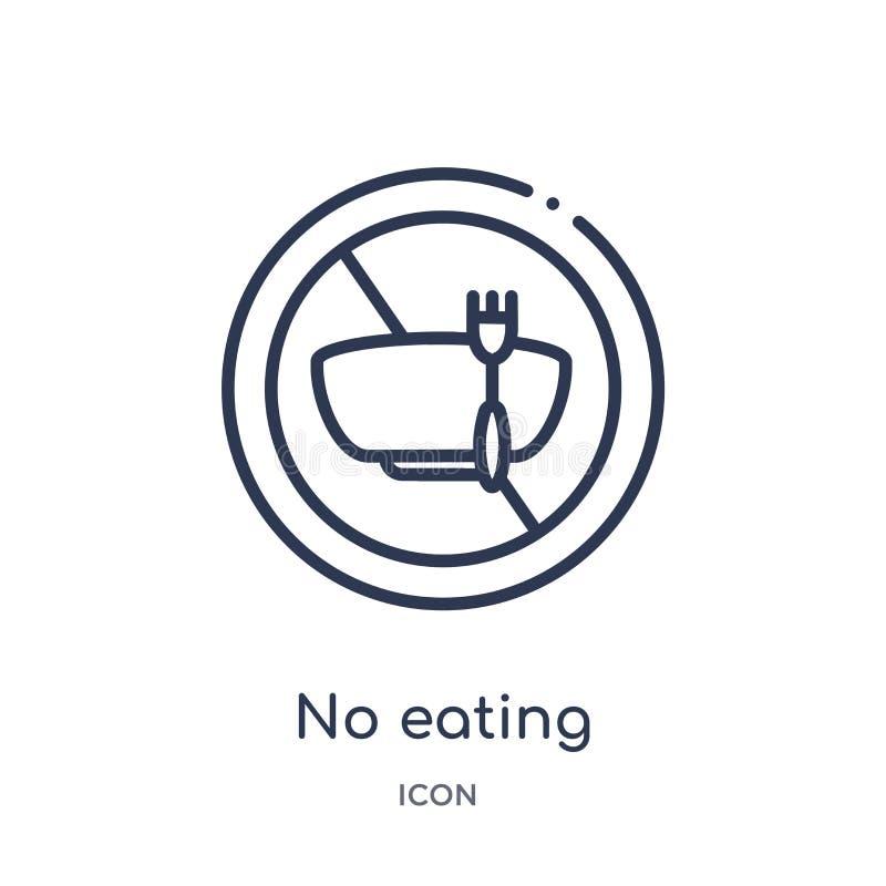 Linear nenhum ícone comer da coleção do esboço do alimento Linha fina nenhum ícone comer isolado no fundo branco não comer na mod ilustração royalty free