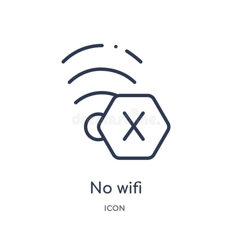 Linear nenhum ícone do wifi da coleção do esboço das conexões de Electrian Linha fina nenhum vetor do wifi isolado no fundo branc ilustração stock
