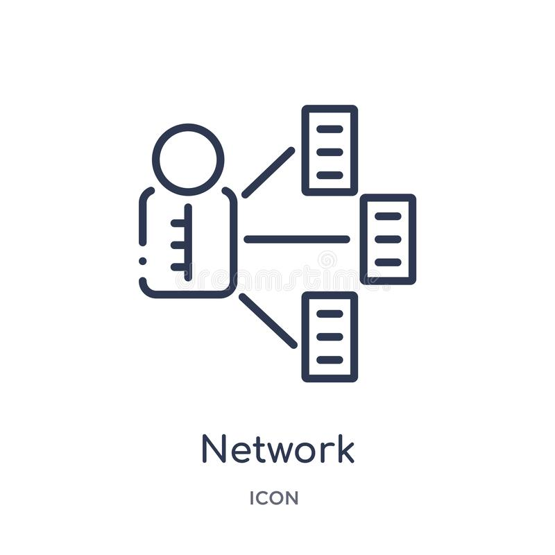 Linear network adminstrator icon from Internet security and networking outline collection. Thin line network adminstrator icon royalty free illustration