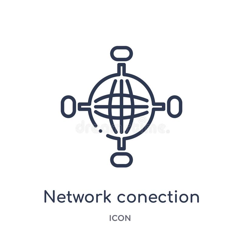 Linear network conection icon from Internet security and networking outline collection. Thin line network conection icon isolated vector illustration