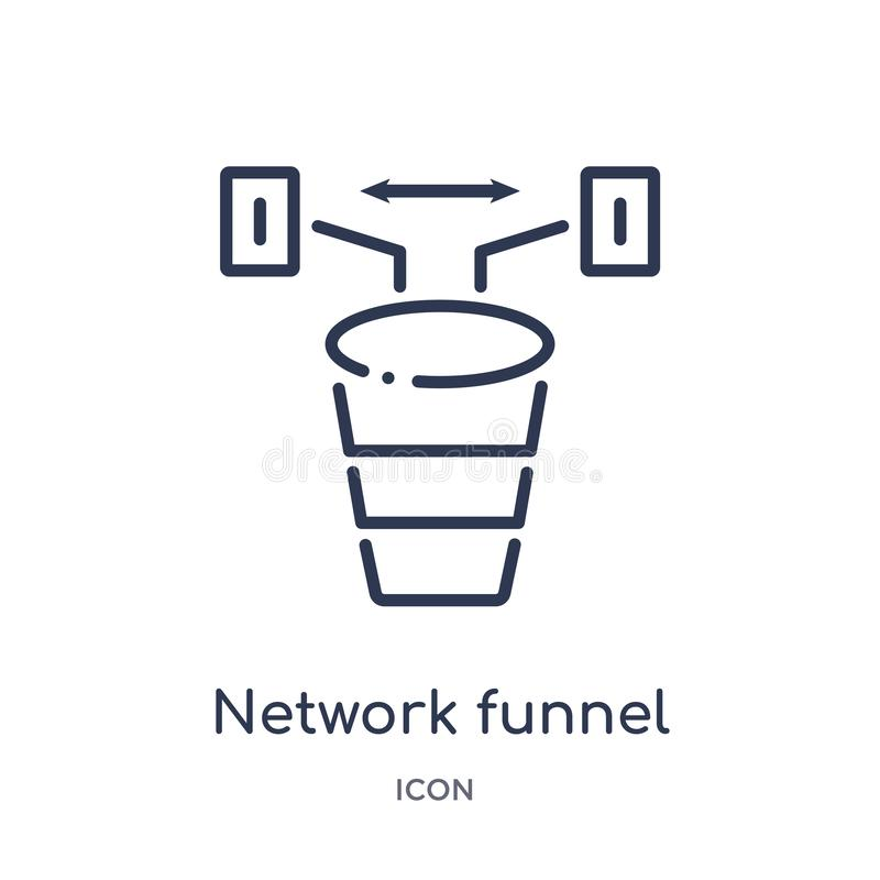 Linear network funnel icon from Internet security and networking outline collection. Thin line network funnel icon isolated on royalty free illustration