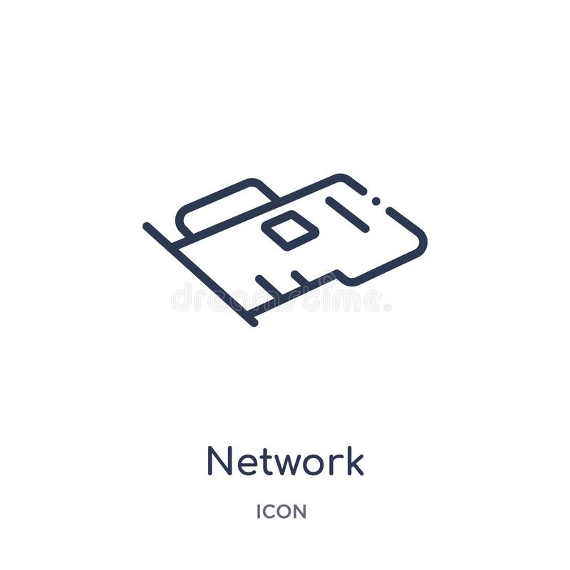 Linear network interface card icon from Hardware outline collection. Thin line network interface card icon isolated on white. Background. network interface card vector illustration