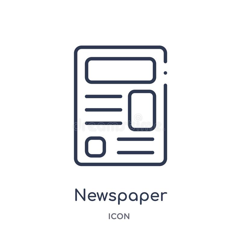 Linear newspaper icon from Football outline collection. Thin line newspaper vector isolated on white background. newspaper trendy royalty free illustration