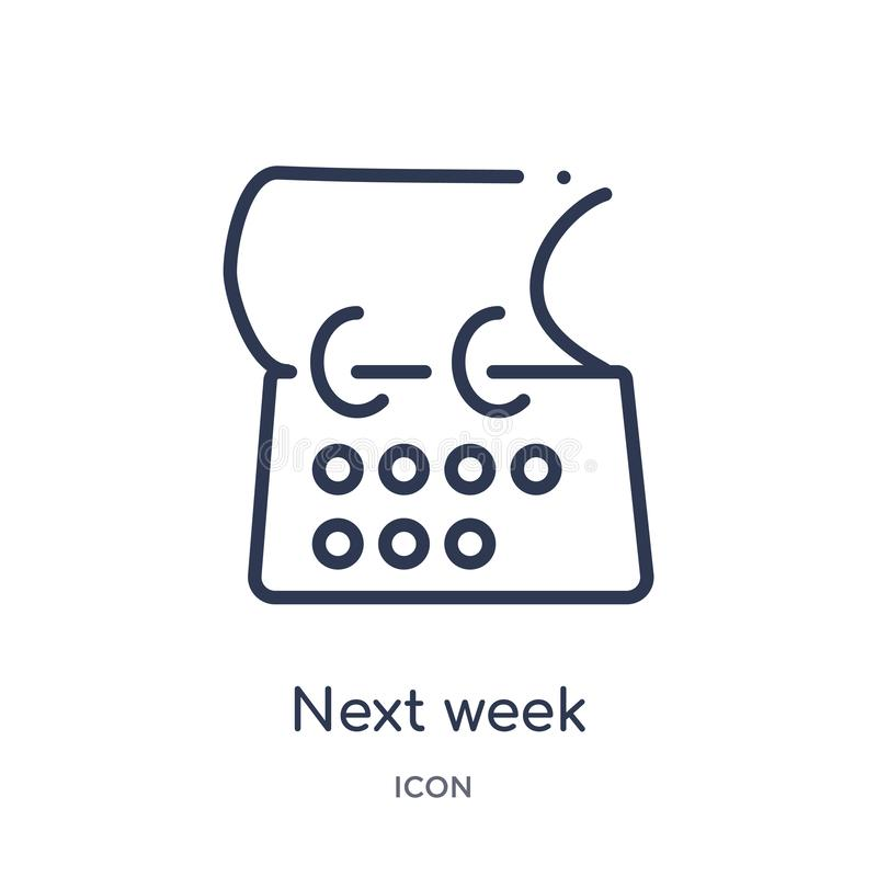 Linear next week icon from Content outline collection. Thin line next week vector isolated on white background. next week trendy vector illustration