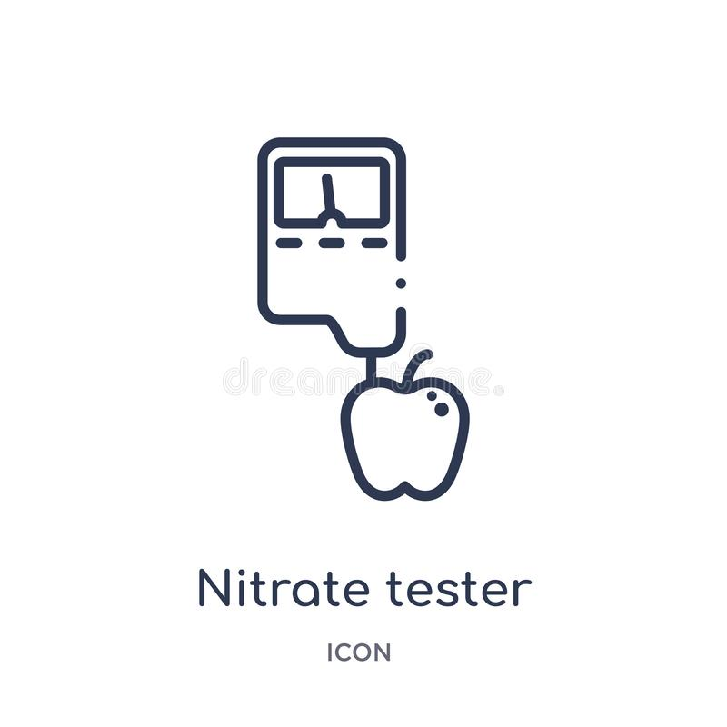 Linear nitrate tester icon from Electronics outline collection. Thin line nitrate tester icon isolated on white background. royalty free illustration