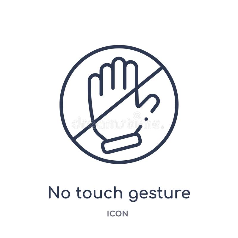 Linear no touch gesture icon from Hands and guestures outline collection. Thin line no touch gesture icon isolated on white vector illustration