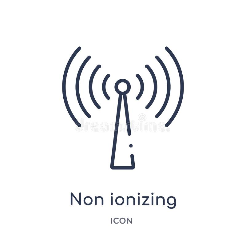 Linear non ionizing radiation icon from Health and medical outline collection. Thin line non ionizing radiation icon isolated on royalty free illustration