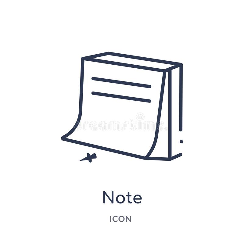 Linear note icon from Content outline collection. Thin line note vector isolated on white background. note trendy illustration stock illustration