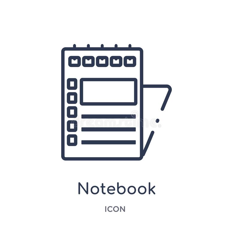 Linear notebook icon from Army outline collection. Thin line notebook vector isolated on white background. notebook trendy stock illustration