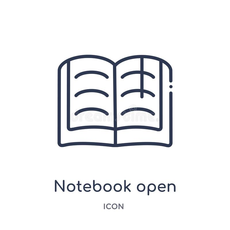 Linear notebook open with bookmark icon from Education outline collection. Thin line notebook open with bookmark icon isolated on royalty free illustration