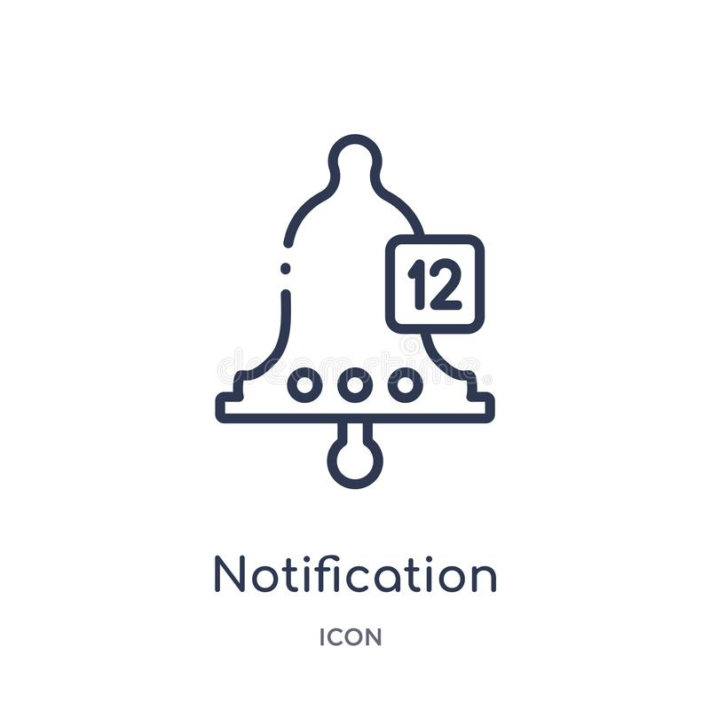 Linear notification icon from Blogger and influencer outline collection. Thin line notification vector isolated on white royalty free illustration