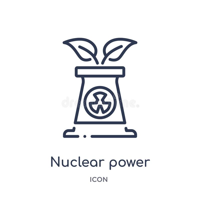Linear nuclear power icon from Ecology outline collection. Thin line nuclear power vector isolated on white background. nuclear vector illustration