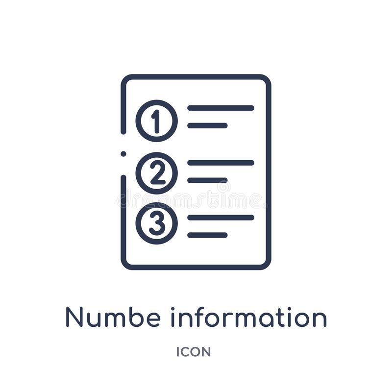 Linear numbe information icon from Business outline collection. Thin line numbe information icon isolated on white background. royalty free illustration