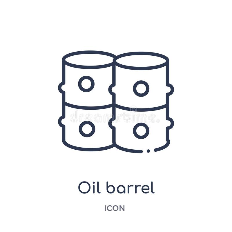Linear oil barrel icon from Industry outline collection. Thin line oil barrel icon isolated on white background. oil barrel trendy. Illustration stock illustration