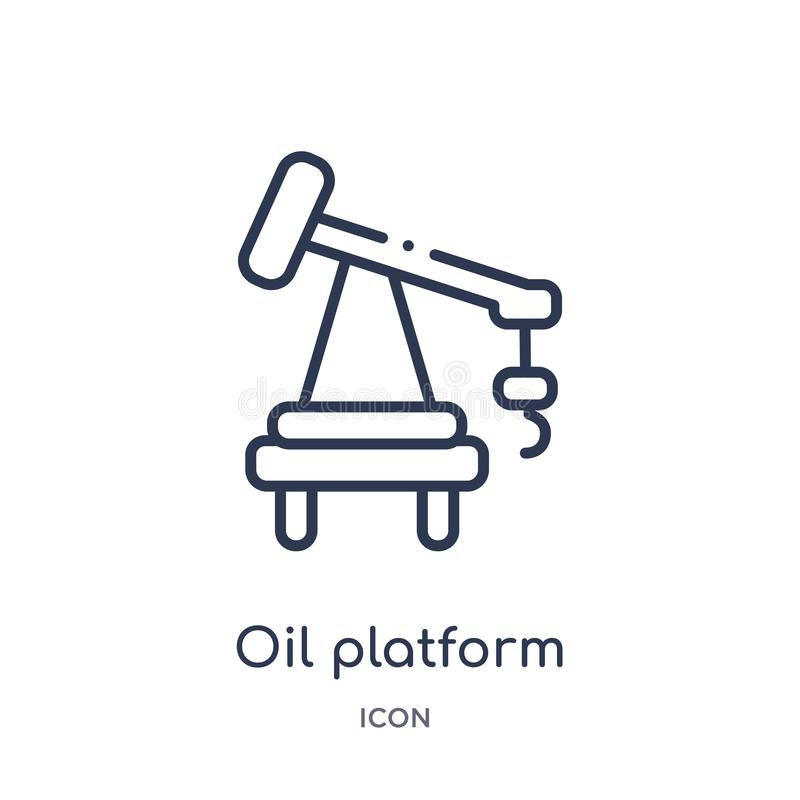 Linear oil platform icon from Industry outline collection. Thin line oil platform icon isolated on white background. oil platform stock illustration