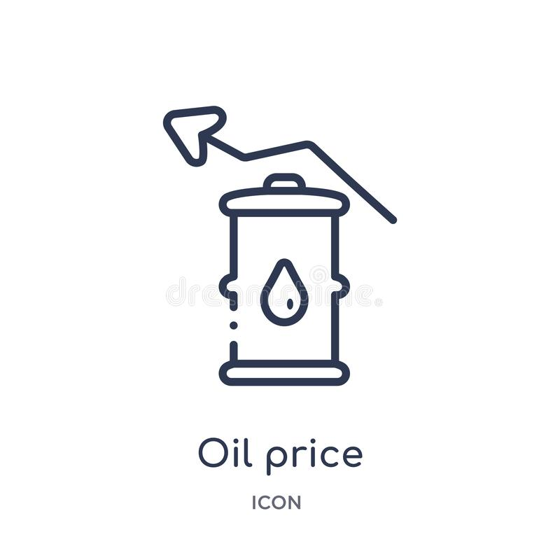 Linear oil price icon from Industry outline collection. Thin line oil price icon isolated on white background. oil price trendy. Illustration stock illustration