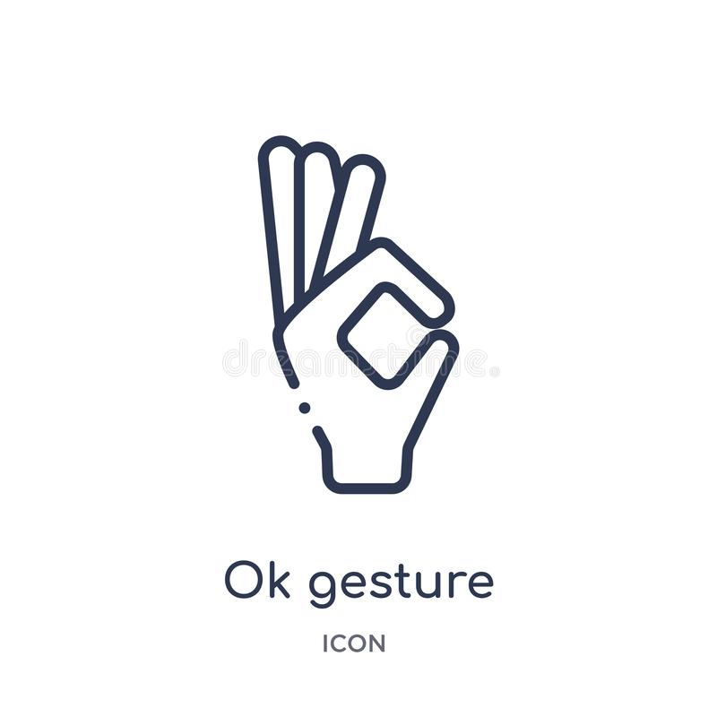 Linear ok gesture icon from Hands and guestures outline collection. Thin line ok gesture icon isolated on white background. ok stock illustration