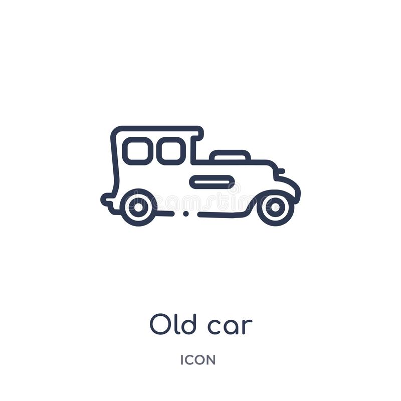 Linear old car icon from Luxury outline collection. Thin line old car icon isolated on white background. old car trendy stock illustration