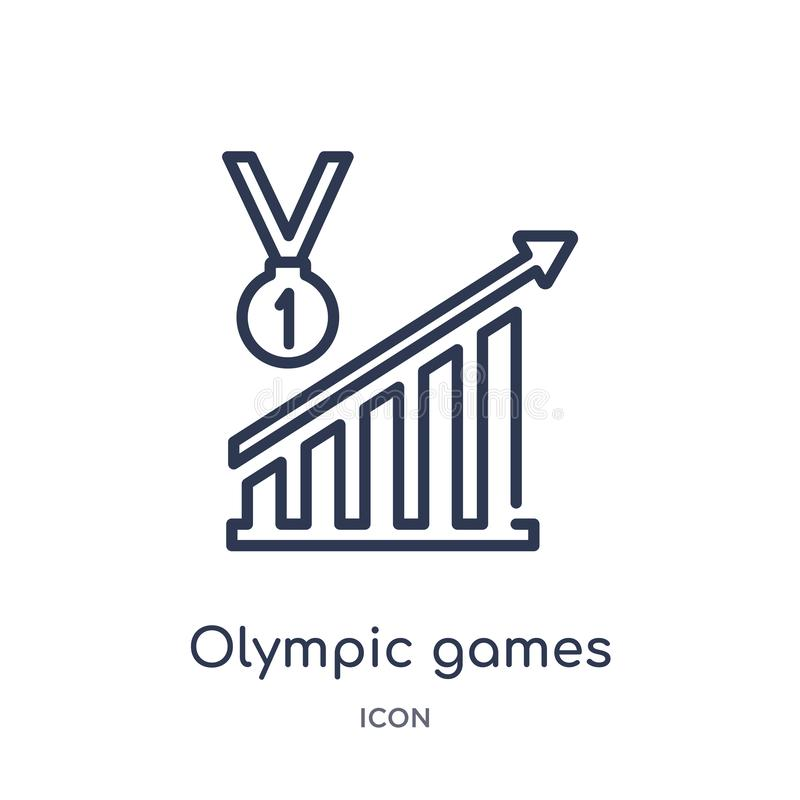Linear olympic games icon from Business outline collection. Thin line olympic games icon isolated on white background. olympic stock illustration