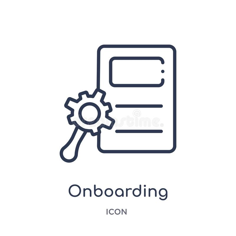 Linear onboarding icon from Human resources outline collection. Thin line onboarding icon isolated on white background. onboarding vector illustration