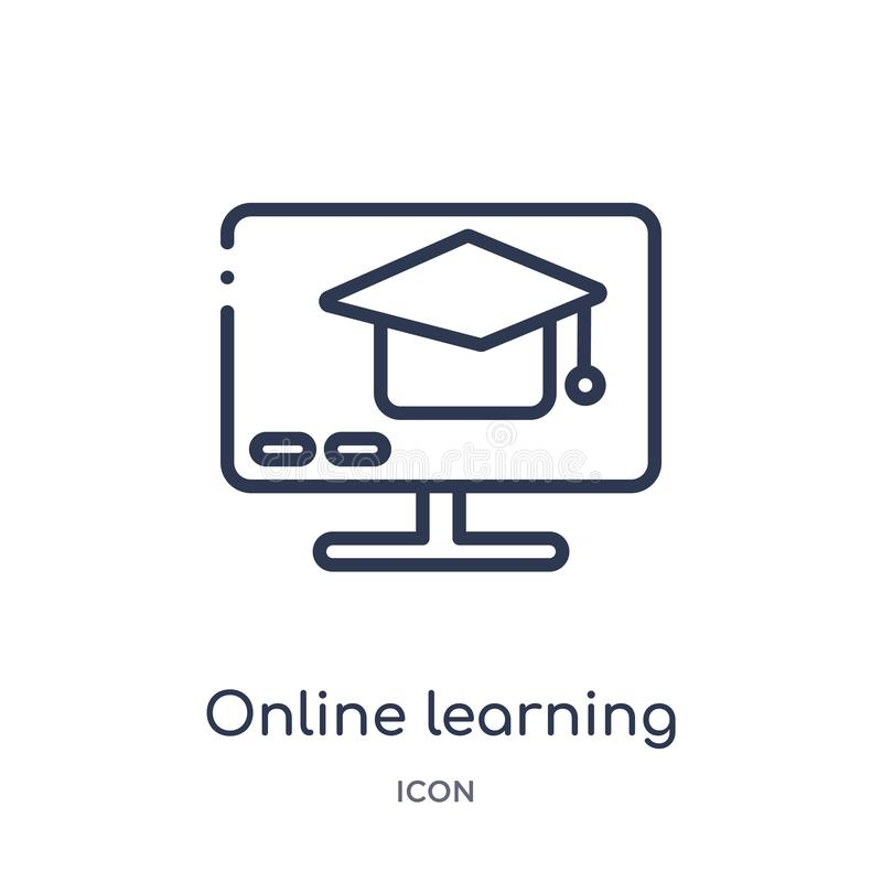 Linear online learning icon from Future technology outline collection. Thin line online learning icon isolated on white background. Online learning trendy vector illustration
