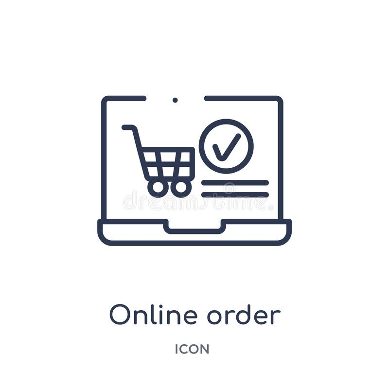 Linear online order icon from Ecommerce and payment outline collection. Thin line online order vector isolated on white background vector illustration