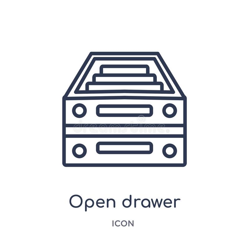 Linear open drawer icon from General outline collection. Thin line open drawer icon isolated on white background. open drawer. Trendy illustration royalty free illustration