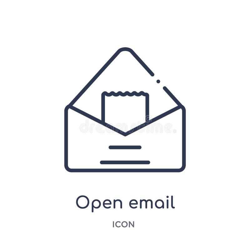 Linear open email icon from Education outline collection. Thin line open email vector isolated on white background. open email stock illustration