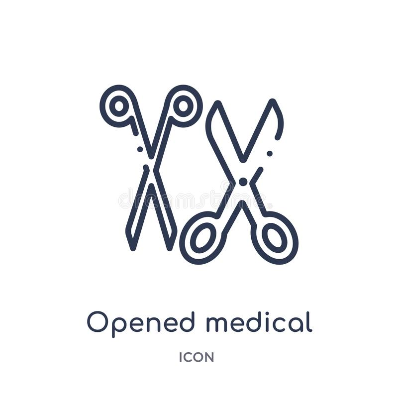 Linear opened medical scissors icon from Medical outline collection. Thin line opened medical scissors icon isolated on white royalty free illustration