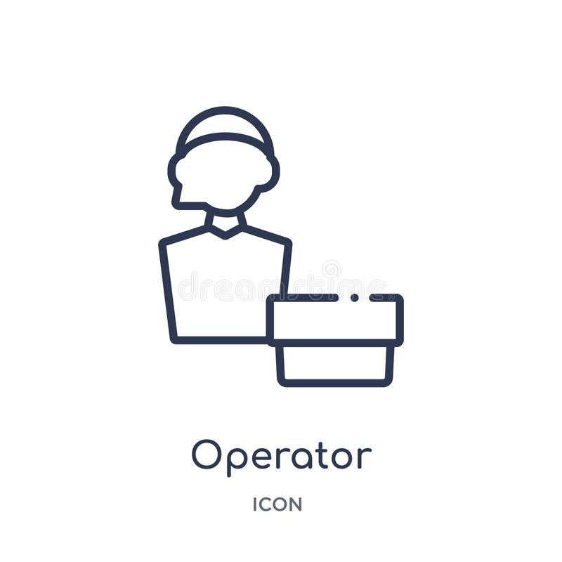 Linear operator icon from Fastfood outline collection. Thin line operator vector isolated on white background. operator trendy royalty free illustration